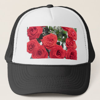 Red Roses Bouquet with Babys Breath Trucker Hat