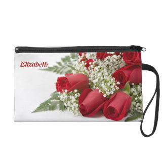 Red Roses Bouquet Wristlet Bag