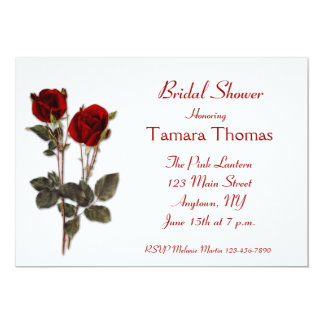 Red Roses Bridal Shower 5x7 Paper Invitation Card