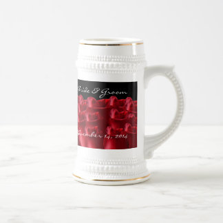 Red Roses Bride and Groom Wedding Date Stein