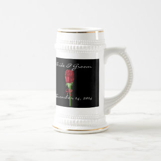 Red Roses Bride and Groom Wedding Date Stein Mug