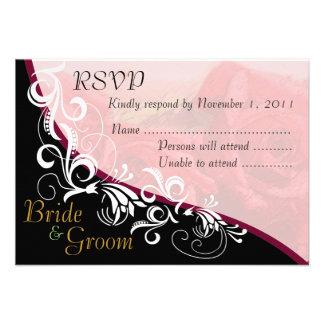 Red Roses Bride & Groom RSVP Card #2 Invitation