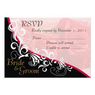Red Roses Bride & Groom RSVP Card #2B