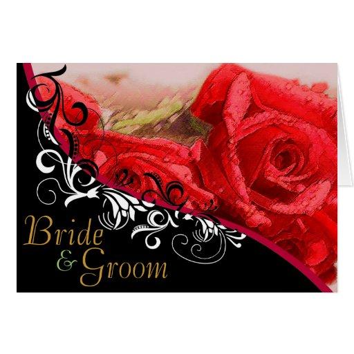 Red Roses Bride & Groom Wedding Card #3
