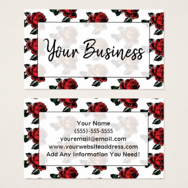 Professional Business Red Roses Business Card, Tiled Roses on White Business Card