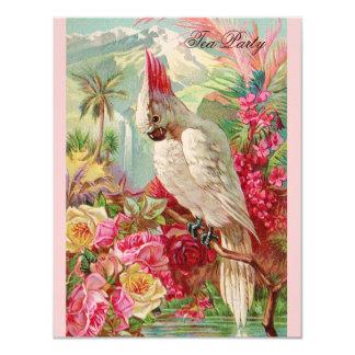 Red Roses & Cockatoo Vintage Art Card