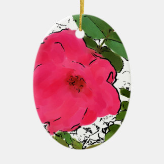 Red Roses Contemporary Illustration Oval Ornament