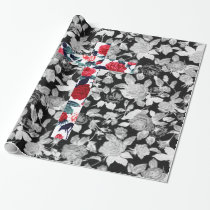 Red Roses Cross & Black and White Floral Pattern Wrapping Paper