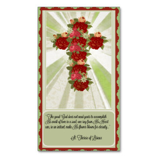 Red Roses Cross with St. Therese Quote Magnet