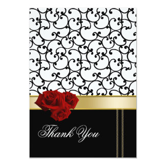red roses damask Thank You Card