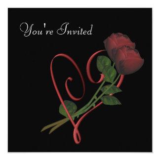 Red Roses Elegant Heart On Black Square Invitation