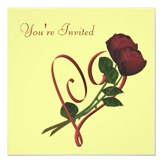 Red Roses Elegant Heart Square Floral Invitation