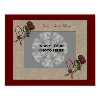 Red Roses Elegant Heart Your Photo Poster