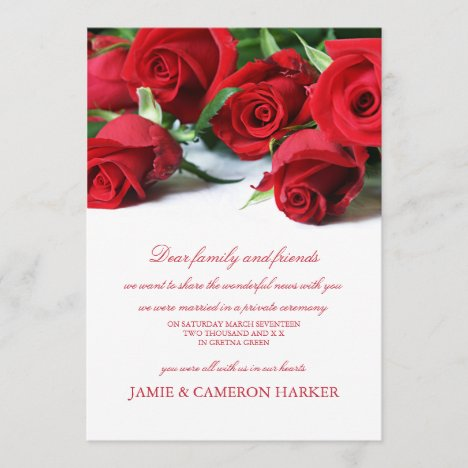 Red Roses Elopement Announcement