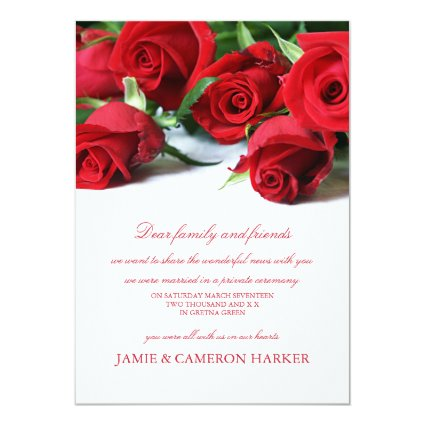 """Red Roses Elopement Announcement 5"""" X 7"""" Invitation Card"""
