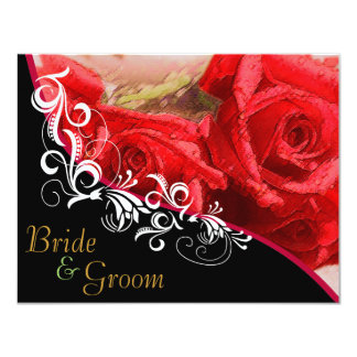 Red Roses - Flat 2 sided Wedding Invite Bb