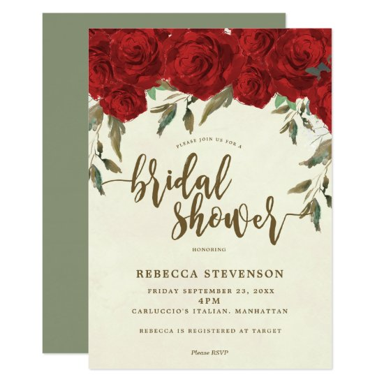 red roses floral bridal shower invitation