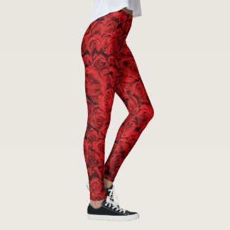 Red Roses Floral Girly Pattern Trendy Fashionable Leggings