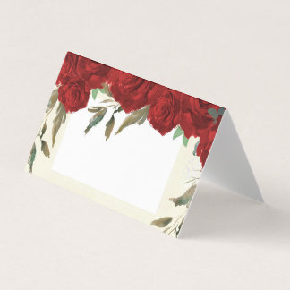 Red roses floral ivory wedding place card