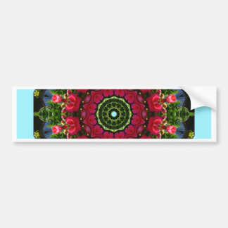 Red Roses, Floral mandala-style Bumper Sticker