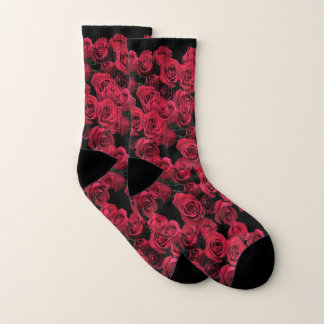 Red Roses Floral Socks
