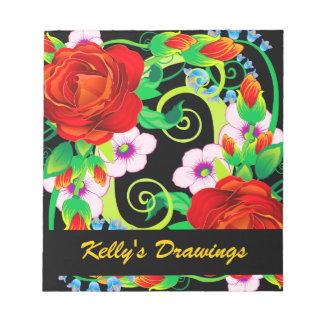 Red Roses & Flowering Vines Notepad