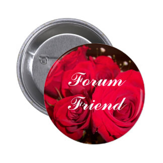 Red roses, Forum Friend Pinback Button