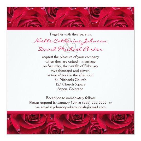 Red Roses Galore Wedding Invitation