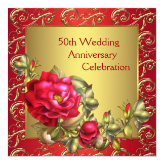 Red Roses Gold 50th Wedding Anniversary Card