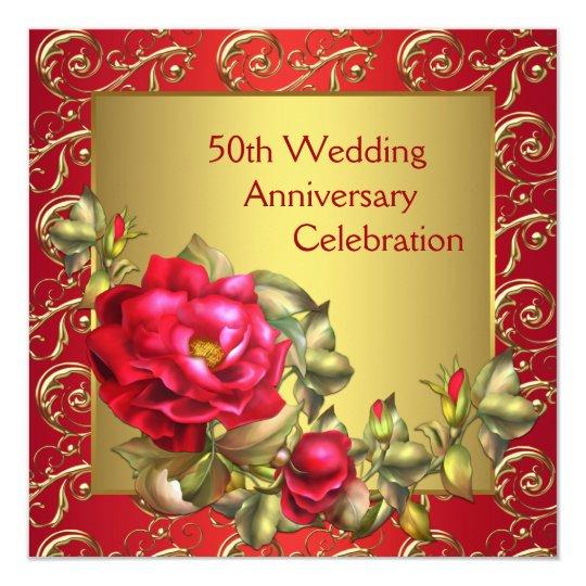 Red Roses Gold 50th Wedding Anniversary Invitation