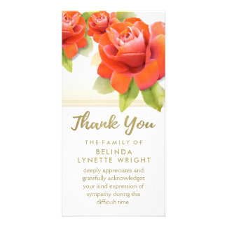 Red Roses Gold Thank You Sympathy Card