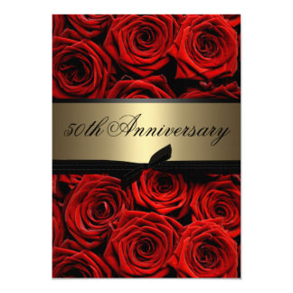 "Red Roses | Golden Anniversary 5"" X 7"" Invitation Card"