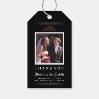 Red Roses Gothic Wedding LOVE Photo Thank You