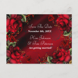 Red Roses Gothic Wedding Postcard Save The Date