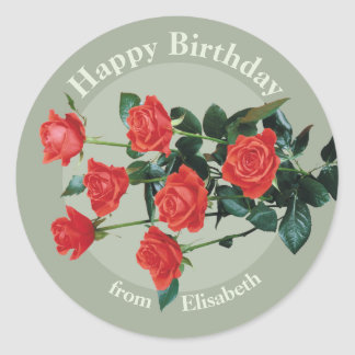 Red roses Happy Birthday from Elisabeth CC0882 Classic Round Sticker