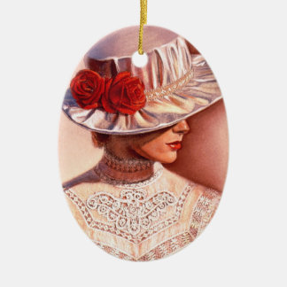 Red Roses Hat Victorian Christmas Ornament