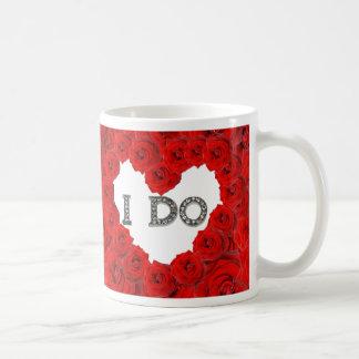 Red Roses Heart I Do Bling Wedding Mug