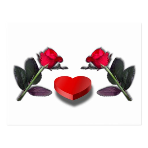 Red Roses & Heart Shaped Candy Box Post Card