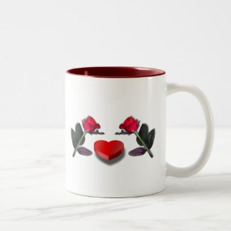 Red Roses & Heart Shaped Candy Box Two-Tone Coffee Mug
