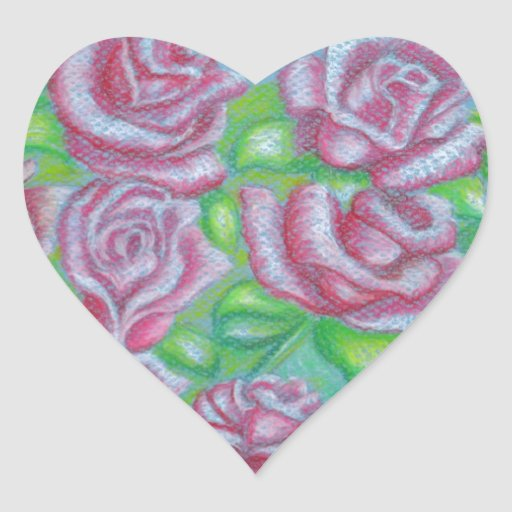 red roses heart sticker