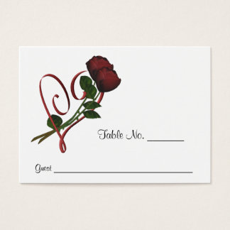 Red Roses Heart Wedding Place Cards Personalized