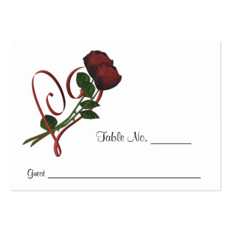 Red Roses Heart Wedding Place Cards Personalized Large Business Card