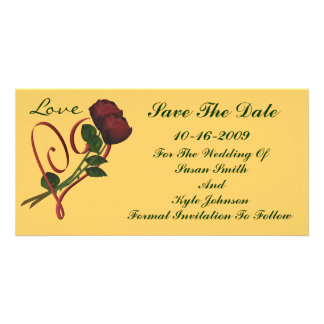 Red Roses Heart Wedding Save The Date Photo Greeting Card