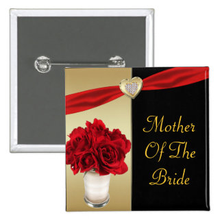 Red Roses & Hearts, Gold & Black Wedding Button