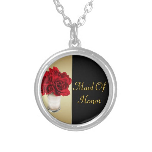 Red Roses & Hearts, Gold & Black Wedding Round Pendant Necklace