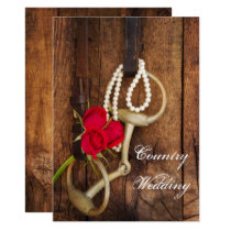 Red Roses, Horse Bit and Barn Wood Country Wedding Card