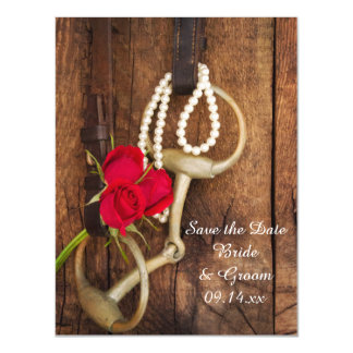 Red Roses Horse Bit Country Wedding Save the Date Magnetic Card
