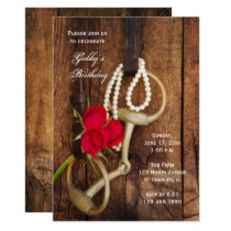 Red Roses Horse Bit Country Western Birthday Party Card