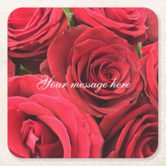 Red Roses I Love You Personalized Square Paper Coaster