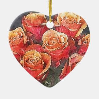 Red Roses Illustration Ceramic Ornament